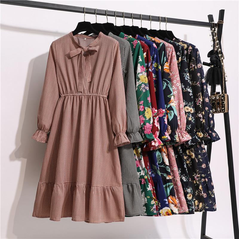 11 Style Beautiful Fashion Summer Women Long Sleeve Dress Retro Collar Casual High Waist Dresses Floral Print Chiffon Clothing
