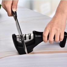 Afiador de faca 3 estágios cozinha profissional afiar pedra moedor facas pedra amolar tungstênio diamante cerâmica ferramenta apontador