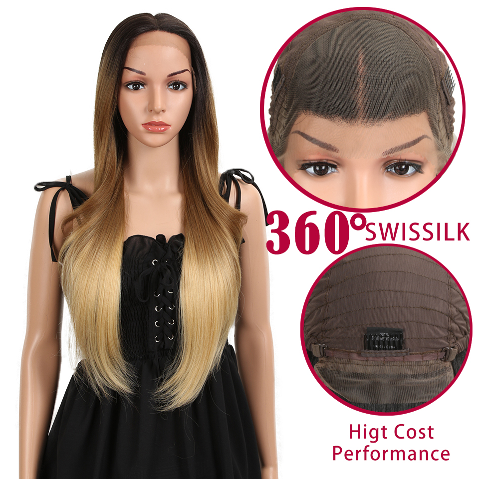 Synthetic Lace Front Wigs 28 Inch straight Cosplay Hair Wig For Black Women Ombre Blonde Orange Heat Resistant Classic Plus