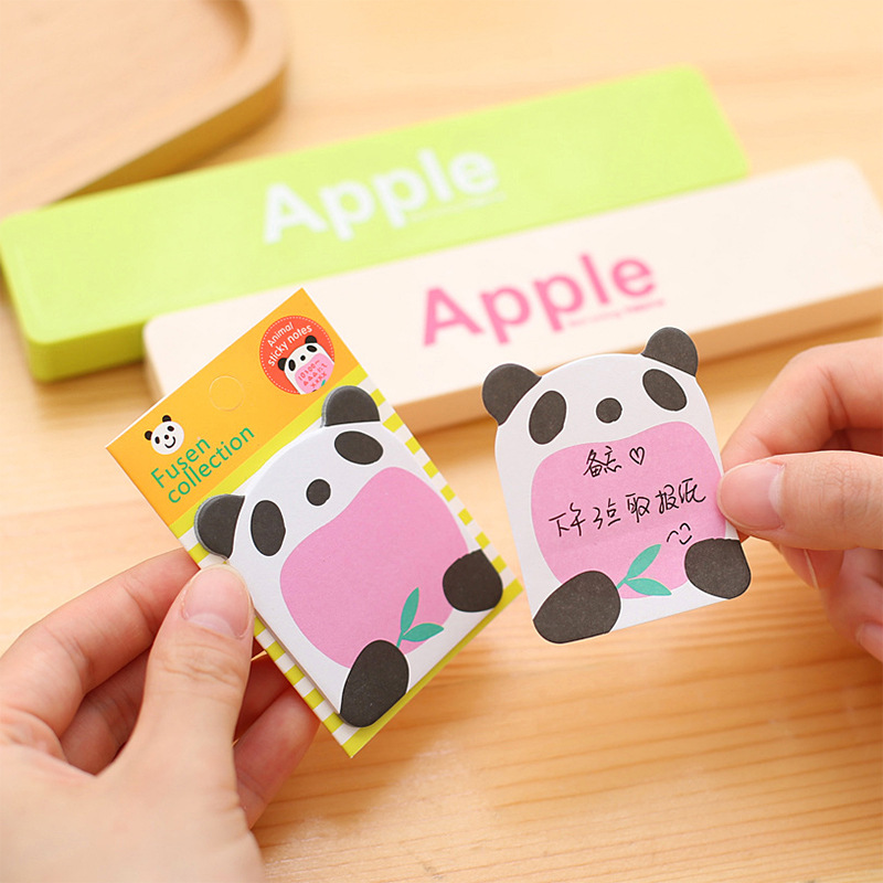 8 Pcs/lot Cute Panda Self-Adhesive Memo Pad Cartoon Animal Paper Post It Sticky Notes Bookmark Stationery Gift Post-it Notes
