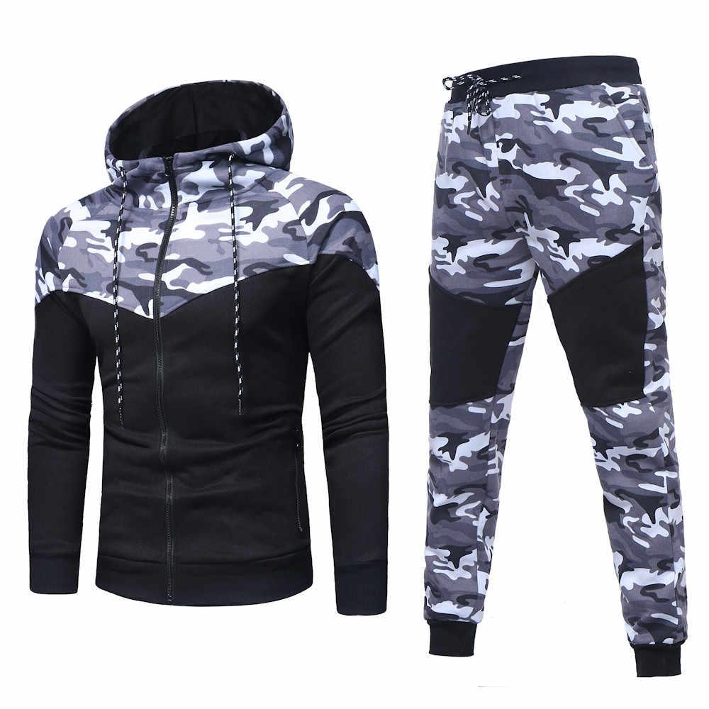 Herren Camouflage Jogginganzug Jogger Hose Hoodie Jacke Sportanzug Kapuze Mantel
