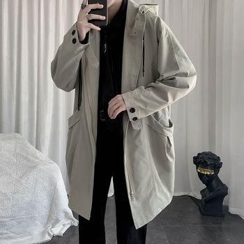 Autumn Korean Style Hooded Trench Men's Fashion Casual Long Coat Men Streetwear Wild Loose Windbreaker Jacket Mens Overcoat richard edwards nearsighted