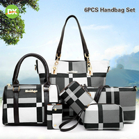 6pcs Women Classic Checked Purses and Handbags Largecapacity Tote Bags Clutch Wallets Ziplock Plastic Storage Hanging Organizer