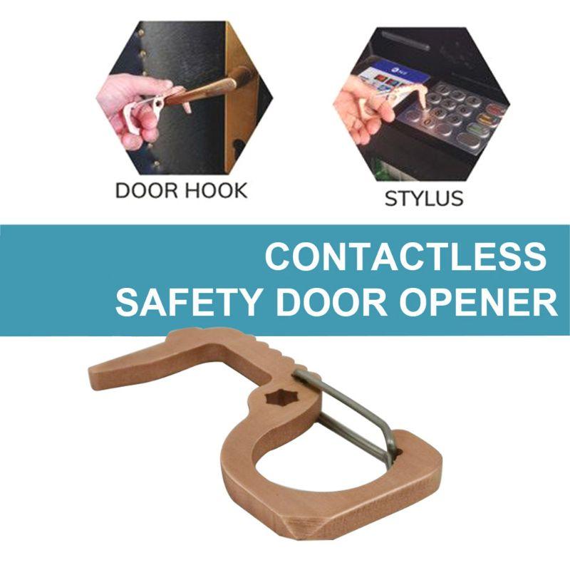 Mini Non-Contact Door Opener Handheld Brass Keychain Opening Doors Elevator Button Avoid Contacting No-touch Keep Hand Clean