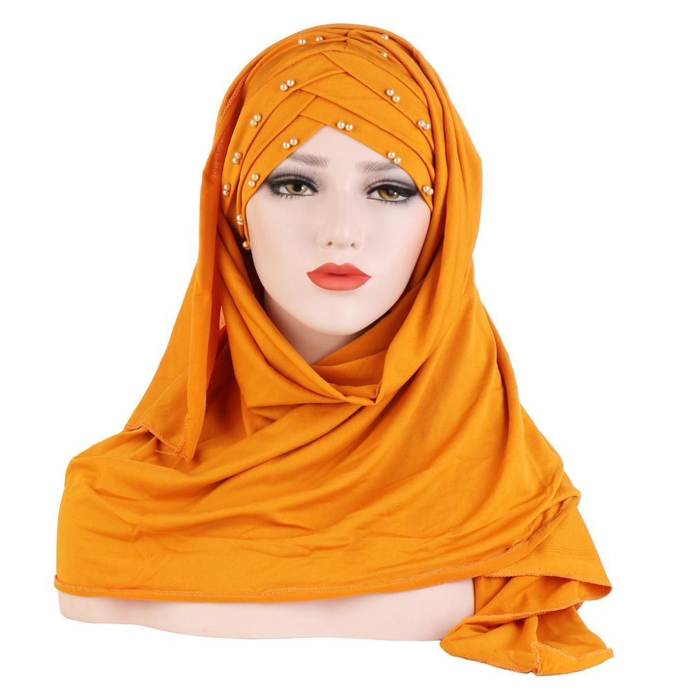 2020 New Muslim Cotton Scarf Plain Hijab With Bead Shawls And Wraps Femme Musulman Hijab Ready To Wear Turban Women Head Scarves