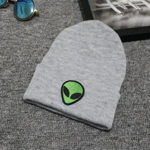 Шапка с вышивкой инопланетянина, зимние мужские и женские шапки с манжетами, мягкие однотонные облегающие шапки в стиле хип хоп, унисекс|Мужская Skullies & шапочки|   | АлиЭкспресс