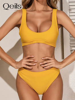 Qeils High Quality Bikini 2021 Women Solid Yellow Push Up High Waist Swimsuit Bathers Bathing Suit Padded Cut Out Swimwear 1