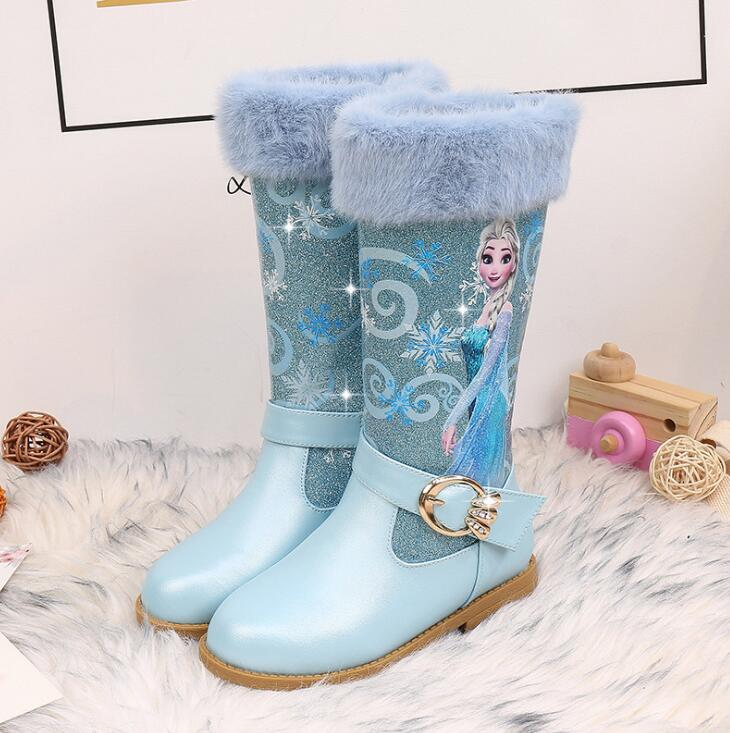 Girls Elsa Leather Boots Shoes For Winter Baby Girls Warm Fur High-heeled Snow Queen Princess Boots