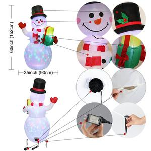 Image 2 - OurWarm Christmas Inflatable Greeting Snowman Santa Claus 5ft Giant Inflatable Blow Up Toy Garden Yard Decoration With LED Light