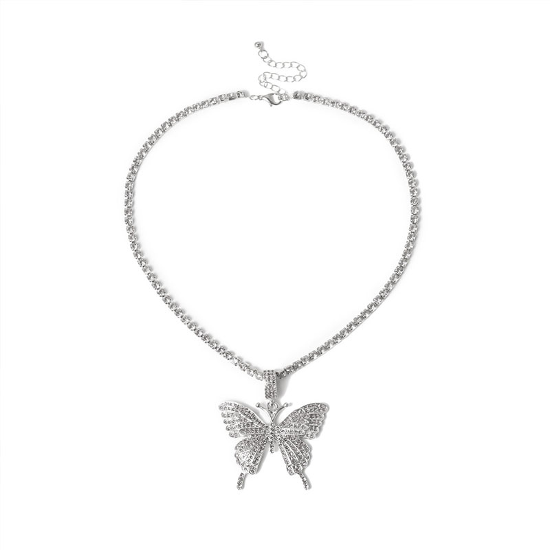 Stonefans Statment Big Butterfly Pendant Necklace Rhinestone Chain for Women Bling Tennis Chain Crystal Choker Necklace Jewelry 2