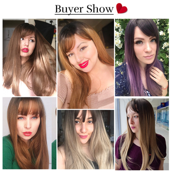 Element 22 inch Long Synthetic Wig with Bangs High Density Dark Root Natural Headline Heat Resistant Hair Wigs for Women 3 Color 3