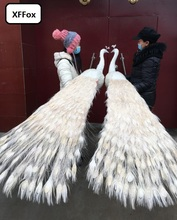 a pair of long tail white peacocks models foam&feather big real life beautiful peacocks birds gift about 180cm d0055 small birds of a feather notebook