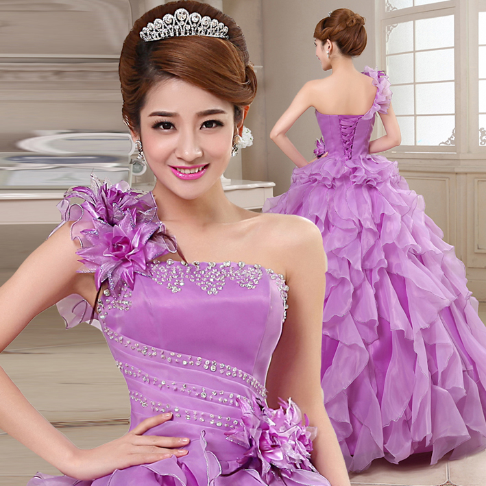 Organza Ball Gown Beading Ruched Ruffles One Shoulder Quinceanera Dresses Beautiful Party Vestidos
