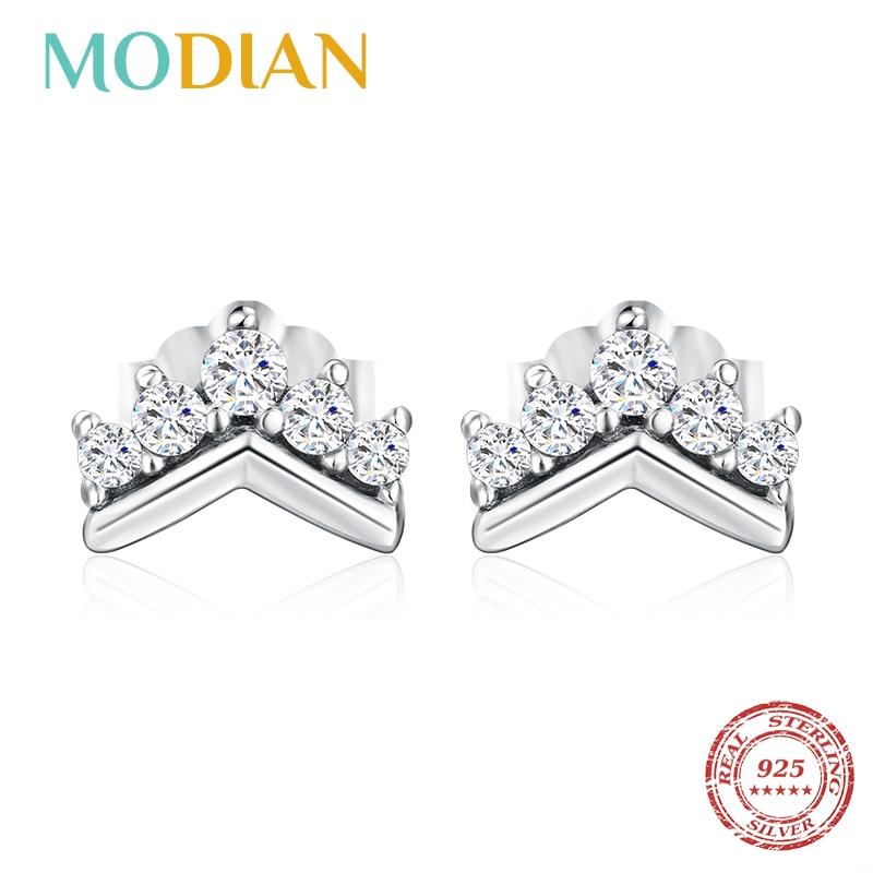 Modian 2020 серебро 100% пробы, простая, прозрачная, корона, подвеска, серьги гвоздики для женщин, милая вечерние, рождественский подарок, ювелирные изделия Серьги-гвоздики      АлиЭкспресс