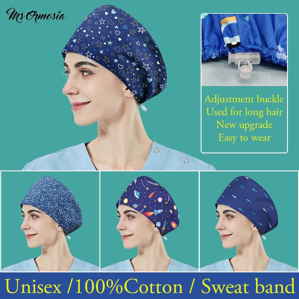 Cartoon Printed Druggist Scrubs Cap Lab Dust-proof Work Hat for Long Hair Tooth Beauty Working Cap Health Check Scrubs Women Hat