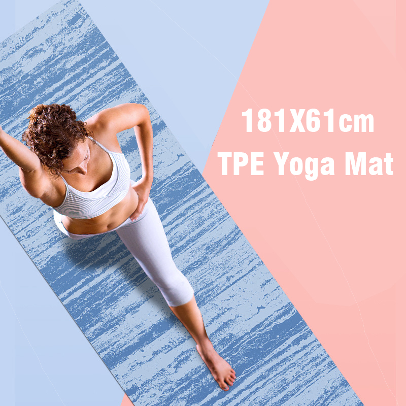 183*61cm TPE Yoga Mat 5mm Gym Sports Fitness Exercise Pads Body Aligning Yoga Mat With Position Line Non-slip Pilates Mat
