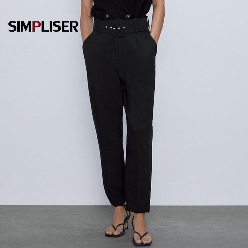 Fashion Harem Pants For Woman 2020 Free Belt High Waist Workwear Trousers Femme Pantalon XS-L Ladies Long Trousers Loose Capris