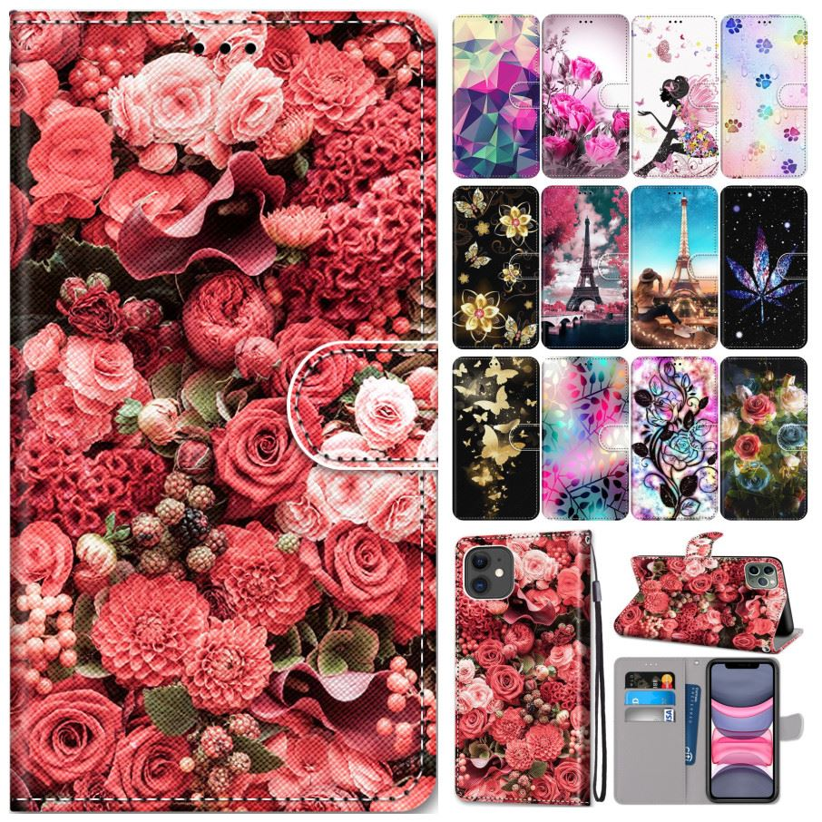 Colored Painted Leather Cover For Case iPhone 11 Pro Max X XS XR 6 6S 7 8 Rose Garden Flower Tower Girl Butterfly Phone Bag E08F