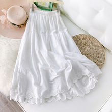 2020 Women Pure Color Summer Skirt Cotton Hem Hollow Out Flower High Waist Long