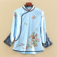 High end New style autumn Women jacket top Chinese Style Retro embroidery splice lace elegant Loose lady coat female S 2XL