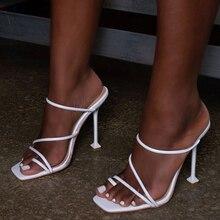 Pzilae zapatillas con tacón fino y punta cuadrada para mujer, chanclas de vacaciones, para verano