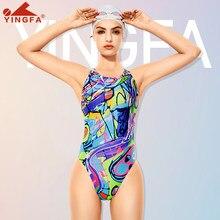 Yingfa 676 novas meninas roupa de banho profissional treinamento competição maiô uma peça maiô bodysuit feminino terno natação