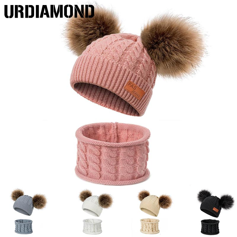 Scarf-Set Hat Girls Boys Winter Cotton Unisex Children New Solid for Warm Pom-Poms Twist-Pattern