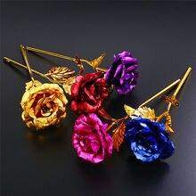 Позолоченный золотой цветок розы 24 K, подарок на день Святого Валентина, свадьбу, день рождения, подарок подруге, 6 цветов