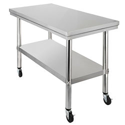 free shipping Stainless Steel Commercial Kitchen Work Table 36x24 Inch With 4 Casters  restaurant and other commercial
