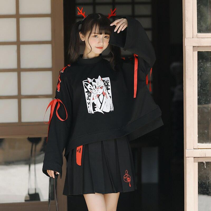 Lychee Harajuku Lace Up Mask Fox Demon Devil Print Women Sweatshirt Autumn Loose Lady Tracksuit Black Women Pullovers