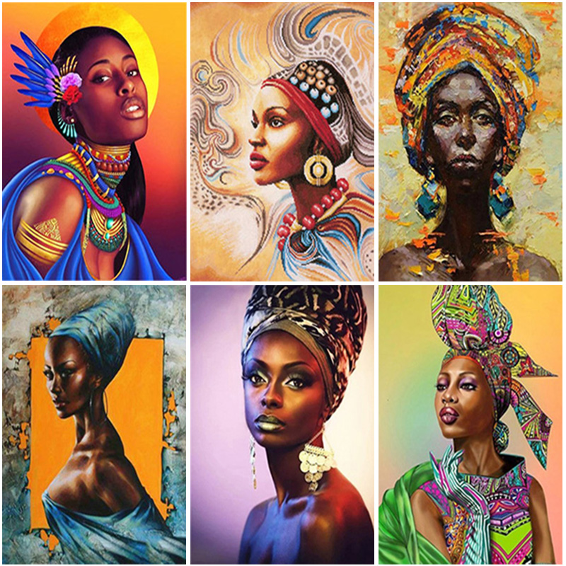 DIY African Woman 5D Diamond Painting Full Square/Round Drill Cross Stitch Diamond Embroidery Home Decor Wall Art Gift