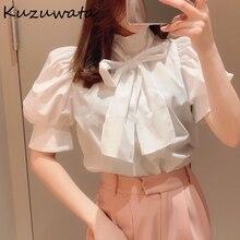 Kuzuwata Bowknot stanąć szyi Puff pół rękawa jednolite bluzki 2021 wiosna lato świeże koszule Temperament urząd Lady kobiety topy