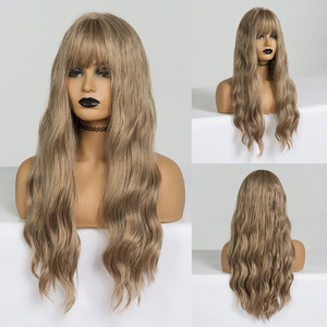 Image 5 - EASIHAIR Long Vanilla Blonde Wave Wigs with Bangs Synthetic Glueless Wigs For Black Women Cosplay Wigs Natural Hair Wigs