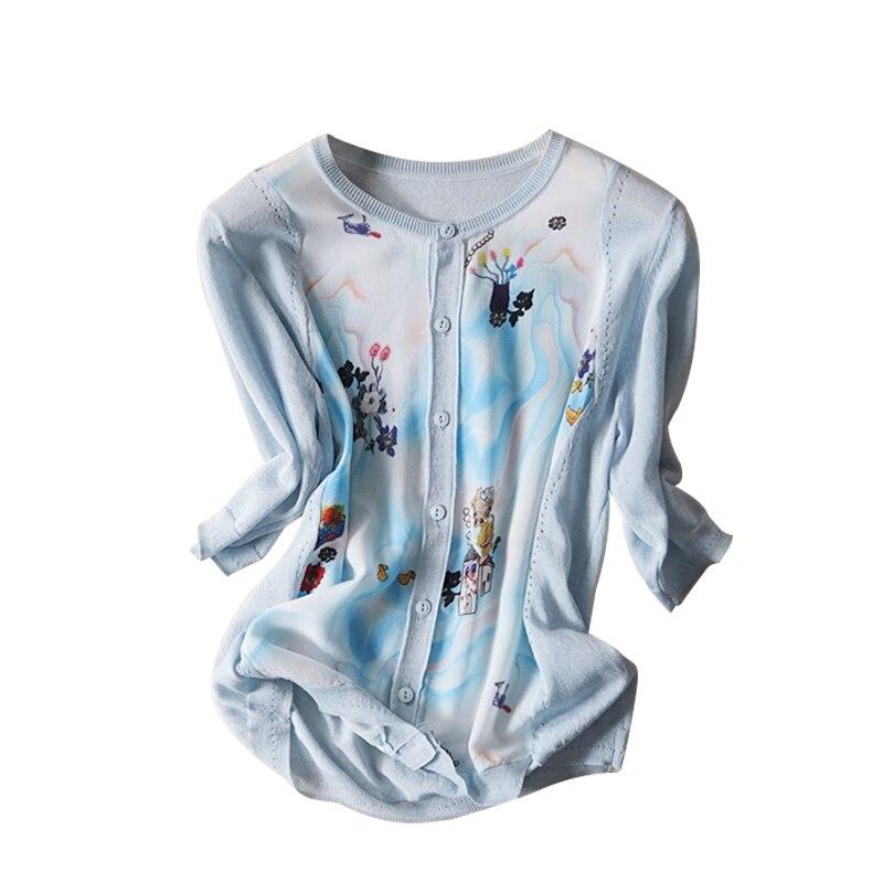 Nuevo viento en primavera y verano cuello en v impreso mangas de seda aire acondicionado cardigan se previene en la ropa - 4