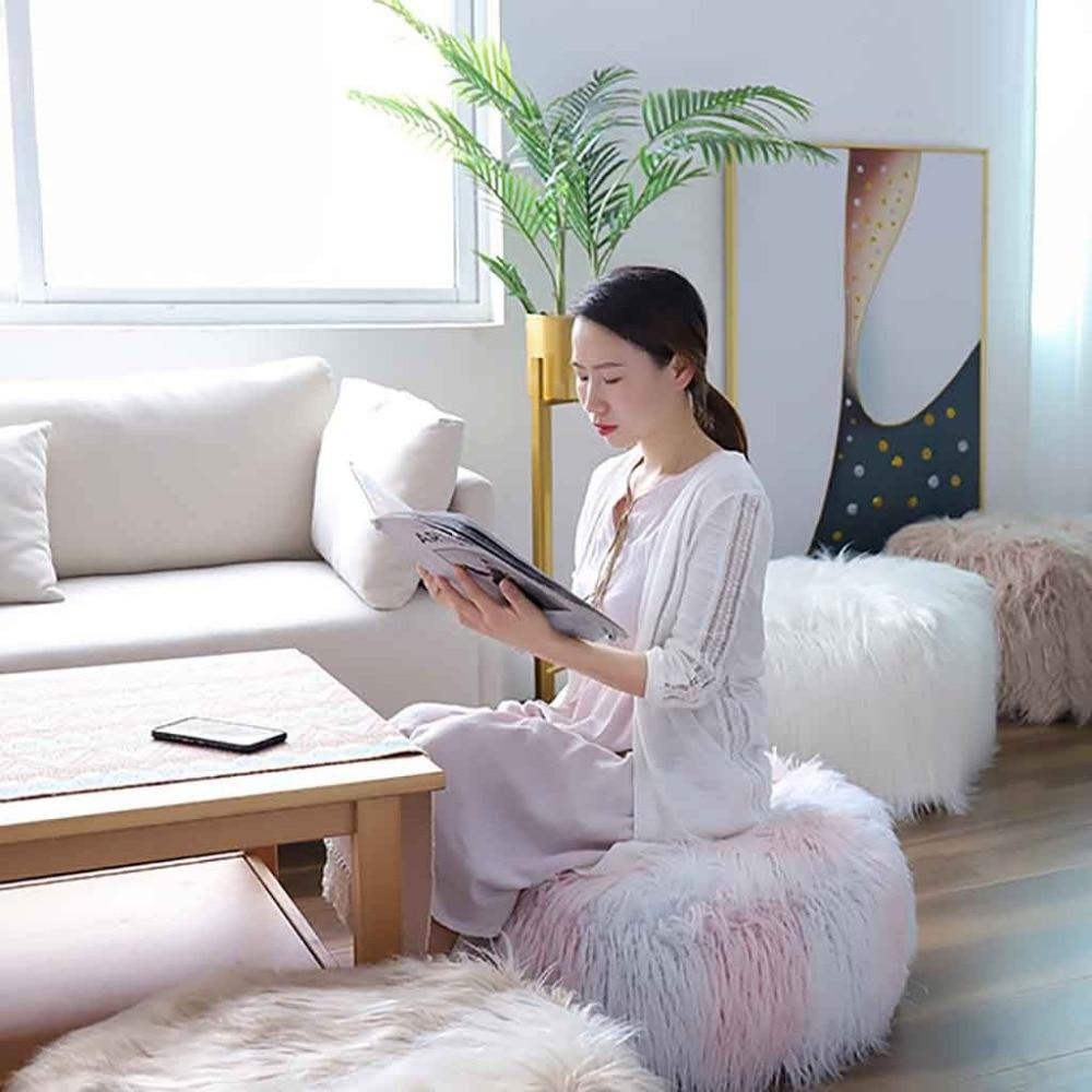 Plush Sofa Stool Futon Mat Inflatable Portable Round Footstool European Style (33)