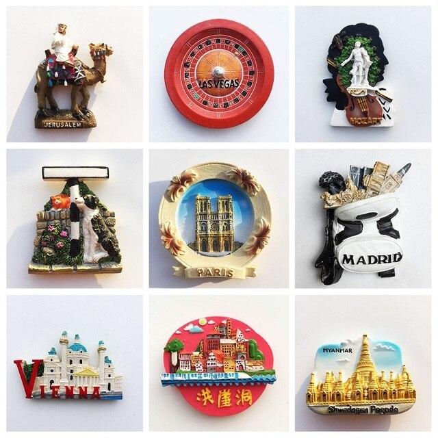 Spain Granada Fridge Magnet Souvenir Hamburg Paris USA Las Vegas Myanmar Jerusalem Vienna Refrigerator Sticker Home Decoration 1