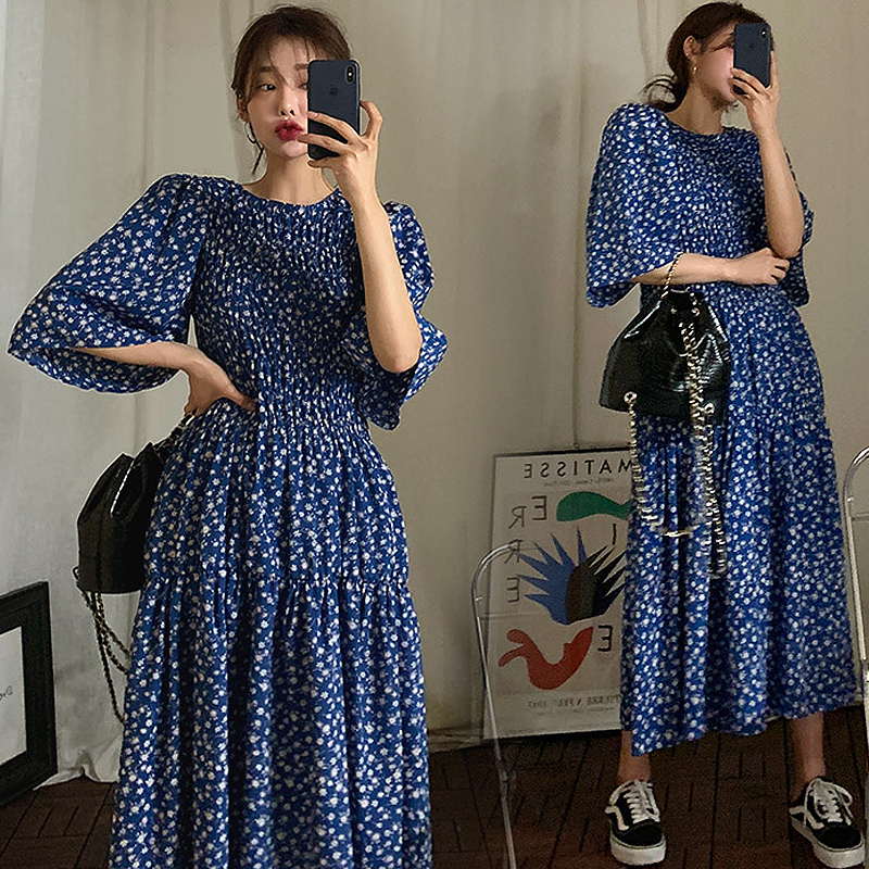 Hot Summer Dress for Women New Chic Fashion Print Floral O neck Loose Pleated Floral Deep Blue Comfort Long Dress Vintage Dress