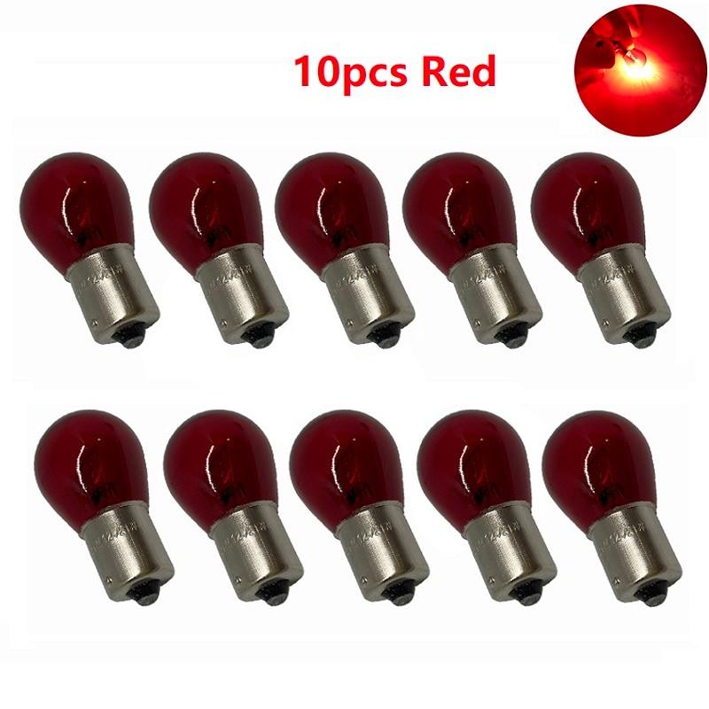 10pcs P21/5W S25 1157 red High low light brake lights halogen lamp BAY15D 1156 BA15S P21W Turn signal lights Indicator Bulb