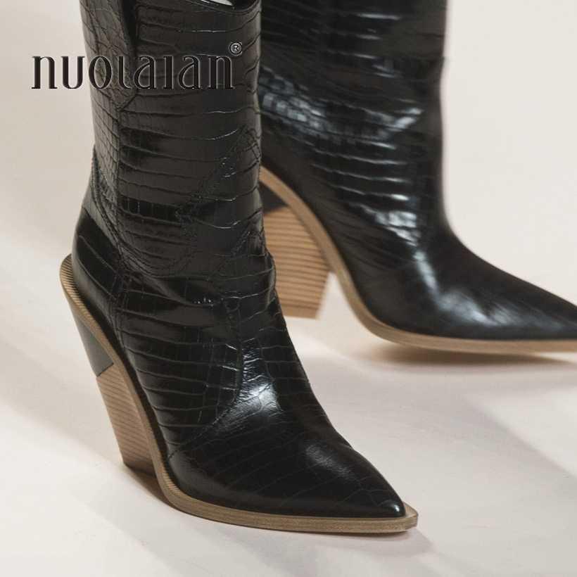 Vrouwen Enkellaarsjes Puntschoen Western Cowboy Laarzen vrouwen Schoenen 9.5CM Hoge Hakken Vrouwelijke Laarzen Schoenen Vrouwen 2019 Nieuwe winter