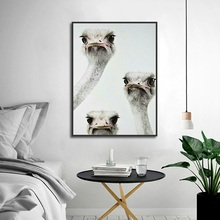 Cute Ostrich Avatar Poster Art Print Animal Canvas Painting Picture Home Wall Aisle Bedroom Modern Decoration Custom