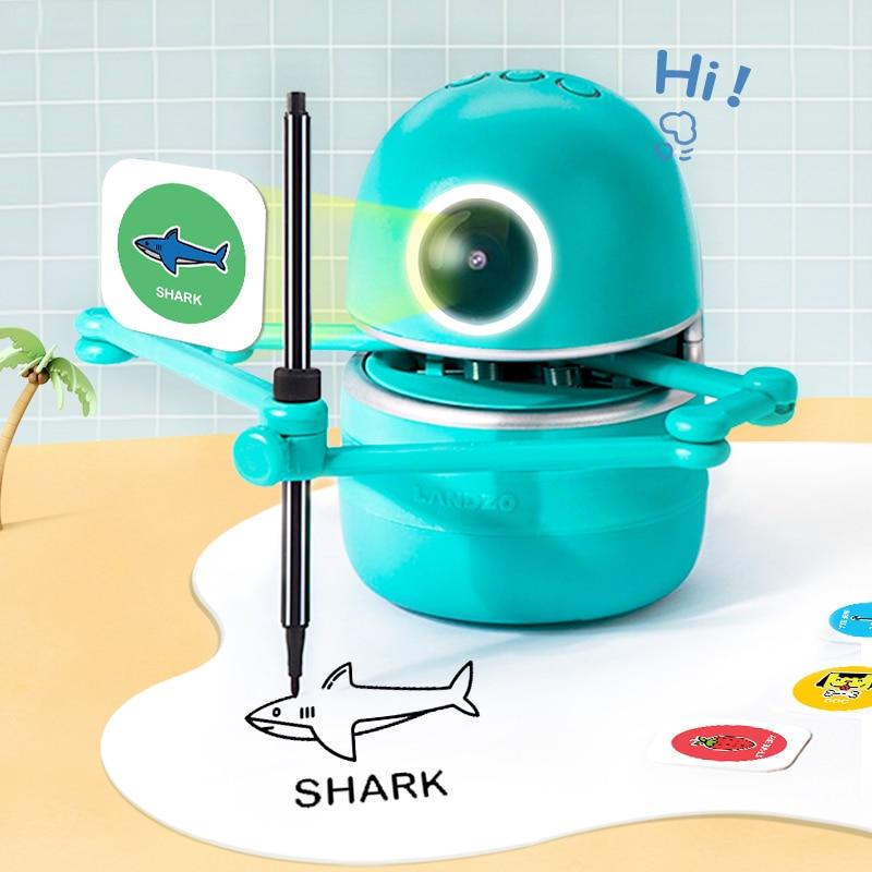 Landzo quincy desenho robô puzzle brinquedo para crianças estudante aprender desenhar, ortografia, matemática, crianças brinquedos educativos presente transporte da gota