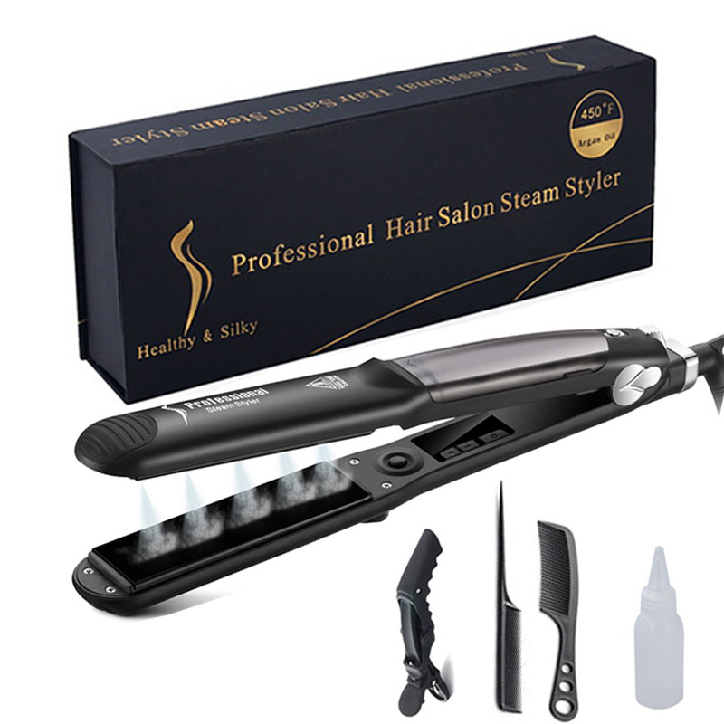 Steam Hair Straightener Brush Titanium Ceramic Flat Iron Professional Electric Hair Comb Fast Hair Styling Straightening Iron
