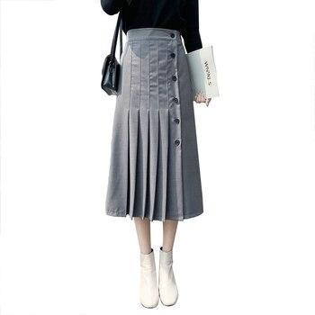 Elegant Mid-length Pleated Skirt Female Autumn Slim High Waist Office Lady Retro Skirts Womens Clothing Grey TJR3026