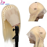 Kissmee блонд полный парик шнурка цвет 613 человеческих волос прямой фронтальный парик предварительно сорвал бразильский медовый блонд парик с ...