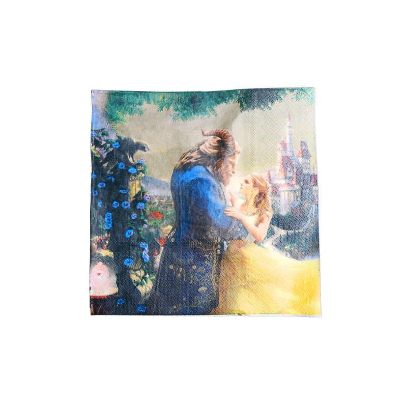 الجمال والوحش الاطفال حفلة عيد ميلاد زينة لوازم الطاولة/المائدة قابل للتصرف أكواب ورقية المناديل كب كيك القبعات العالية لوازم الحفلات