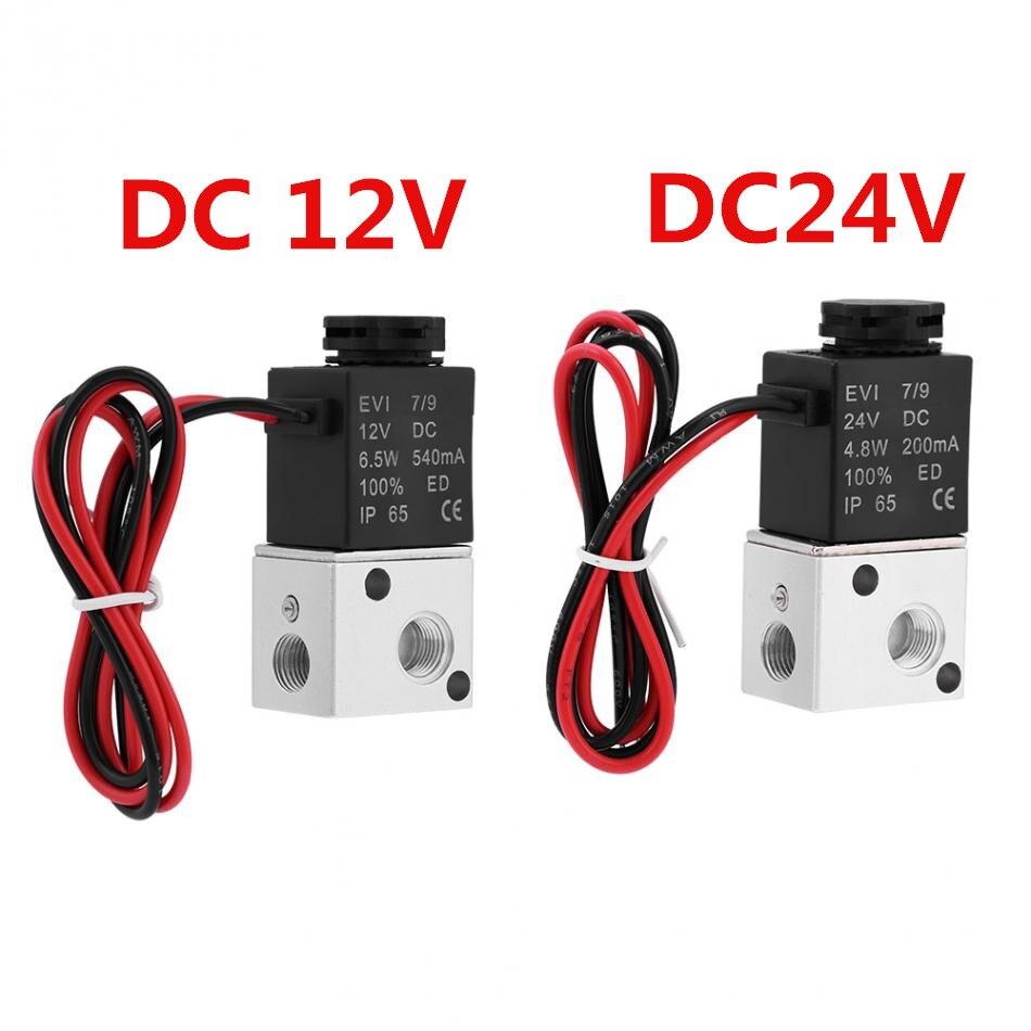 1 шт. 3V1-06 NC Электромагнитный клапан DC 12 V/24 V 3 Way 2 Позиция 1/8 дюйма BSP нормально закрытый Пневматического клапана Электрический электромагнитн...