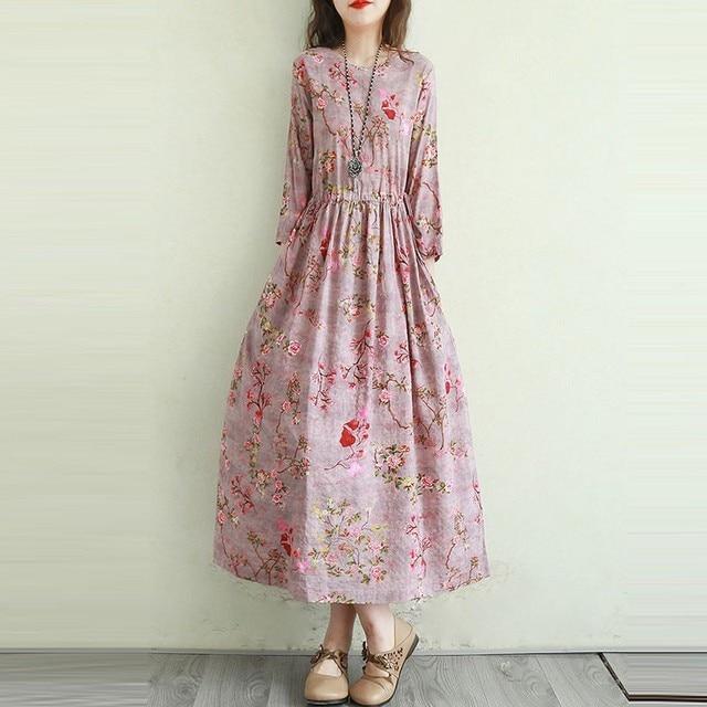 Women Cotton Linen Casual Dress New Arrival 2021 Summer Vintage Style Floral Print Ladies Elegant A-line Long Dresses T001 6