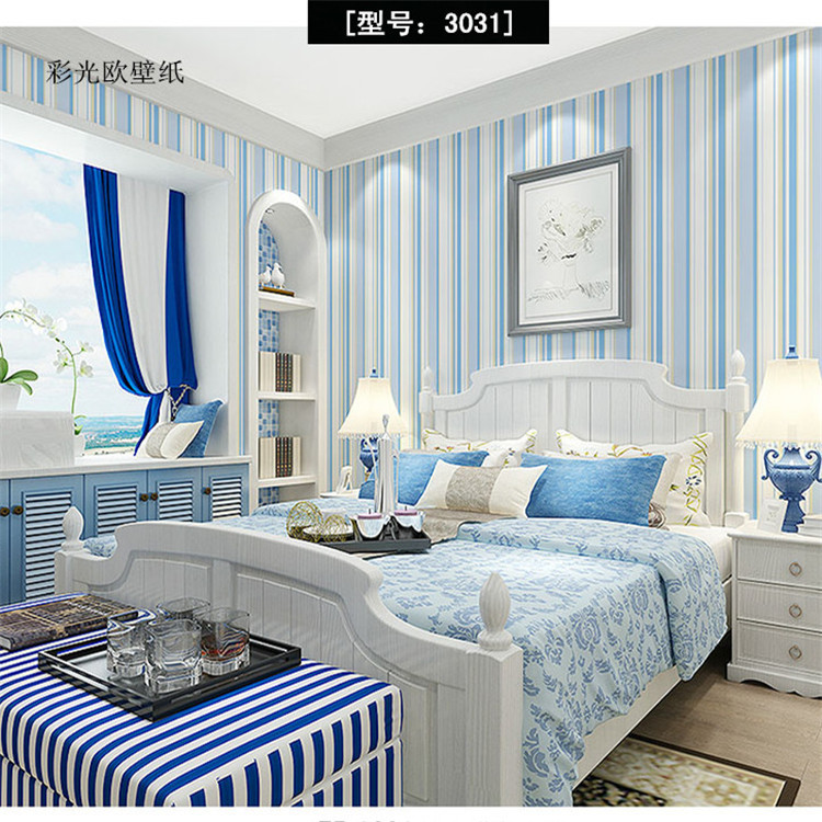 Mediterranean Wallpaper Nonwoven Fabric Blue Vertical Striped Wallpaper Bedroom Living Room Boy CHILDREN'S Room Wallpaper Wall