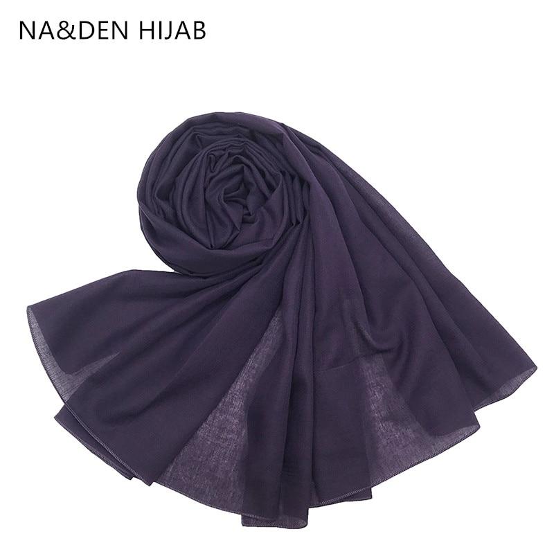1PCS Hot Sale  Islamic Hijab New Bandana Women Muffler Tudung Bawal Pashmina Muslim Headscarf Popular Shawls Lady Solid Scarf