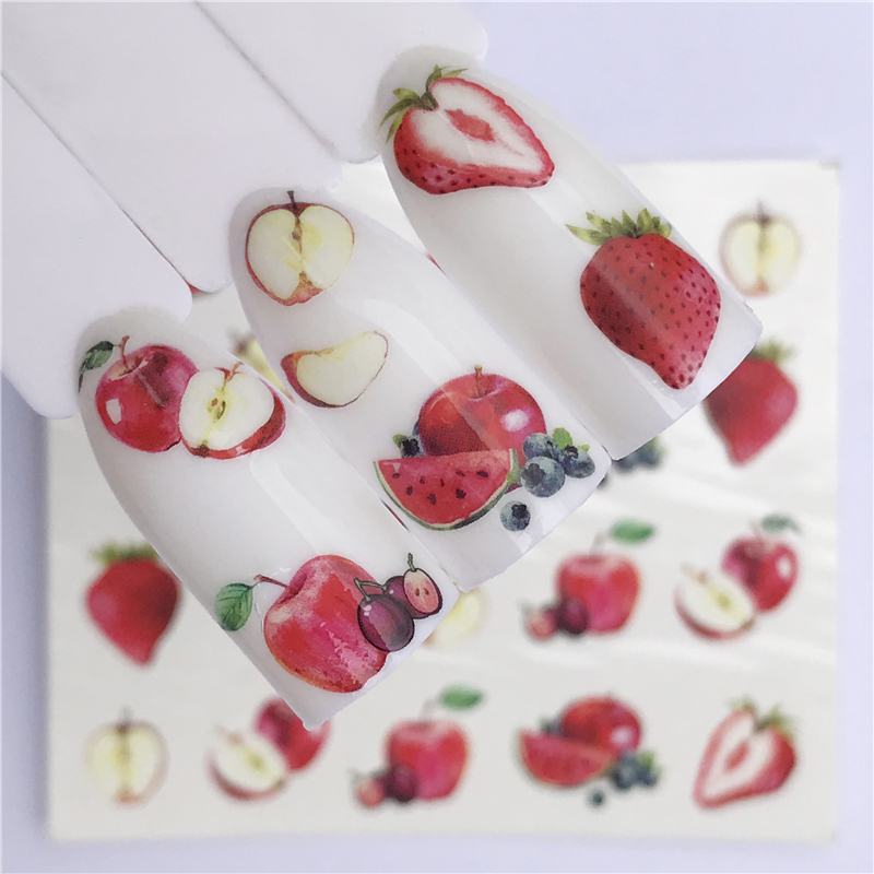 FWC 1 Sheet Summer Fruit Strawberry Cherry Cake Ice Cream Apple Nail Art Water Transfer Sticker Decor Slider Decal Manicure